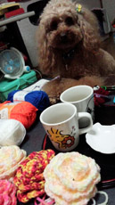 お茶の後 編み編みタイム3