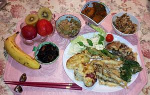 小鰯天ぷら ゴーヤチャンプル 南京煮物 トウガン煮物 ひじき煮
