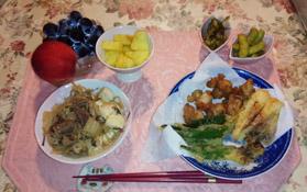 夜は天ぷら・すき焼き