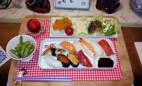 前日はお寿司 煮物&サラダ