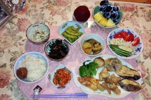 晩御飯 天ぷら鶏唐 大根酢物 ひじき煮 枝豆