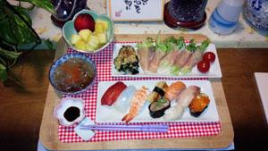 お寿司と生ハム巻 ところてん