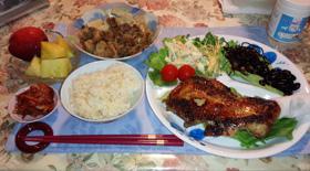 晩御飯 チキンレッグ ひじき&黒豆 すき焼き