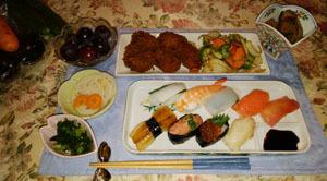 晩御飯 酢牛になり損なったヒレカツと野菜 お寿司