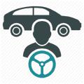 車とドライバーのロゴ