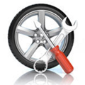 タイヤとレンチのイラスト