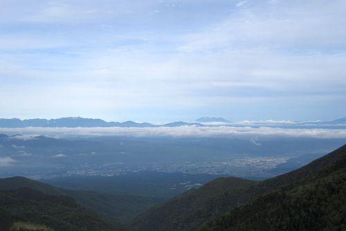 御嶽山と中央アルプス