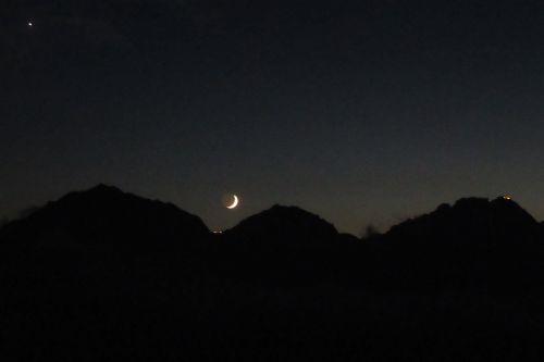 穂高に沈む月と金星