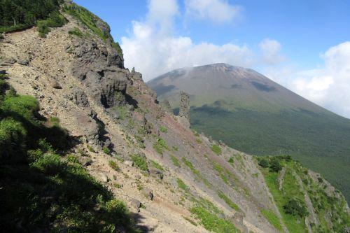 浅間山と絶壁