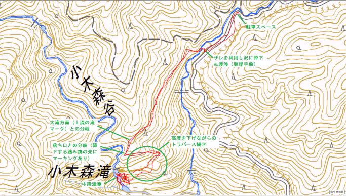 小木森滝ルート