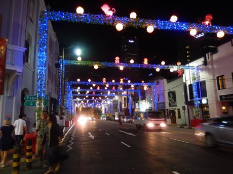 シンガポール2016.1チャイナタウン・旧正月ライトアップ