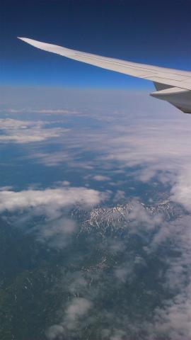日本へのフライト中