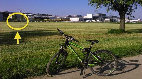 空港の畑、芝刈り中
