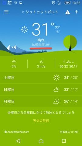 体感温度35度