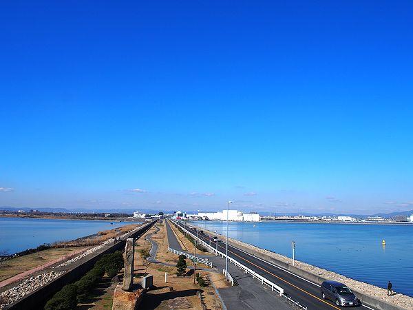 児島湖堤防