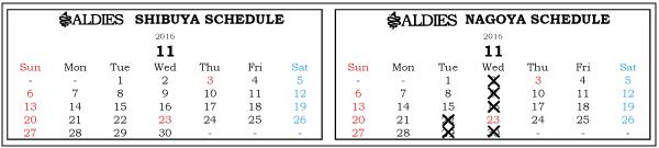 ブログ用営業日カレンダー2016年11月