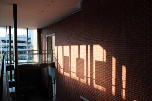 0168:穂の国とよはし芸術劇場 レンガに映る日陰