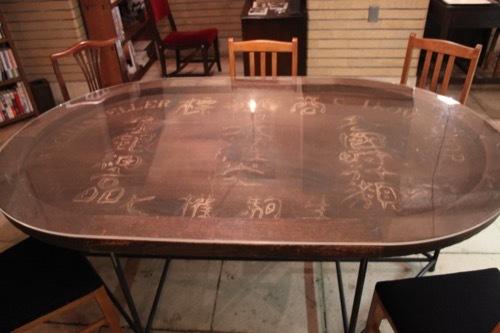 0181:生駒ビルヂング 看板をテーブルに