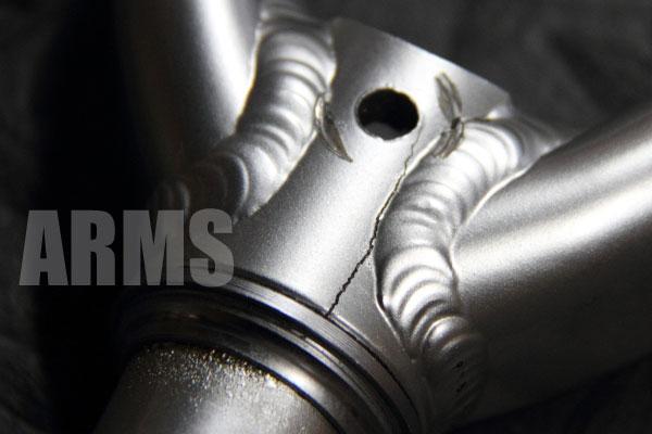 自転車のアルミ製フロントフォーク修理 アルミ溶接