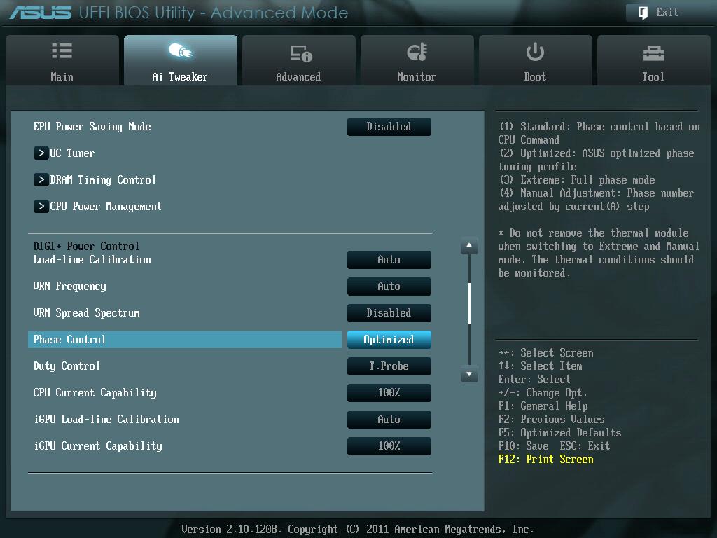 ASUS P8Z68-V PRO/GEN3 UEFI BIOS Version 3603 DIGI + Power Control にある Phase Control を Extreme から Optimized に変更
