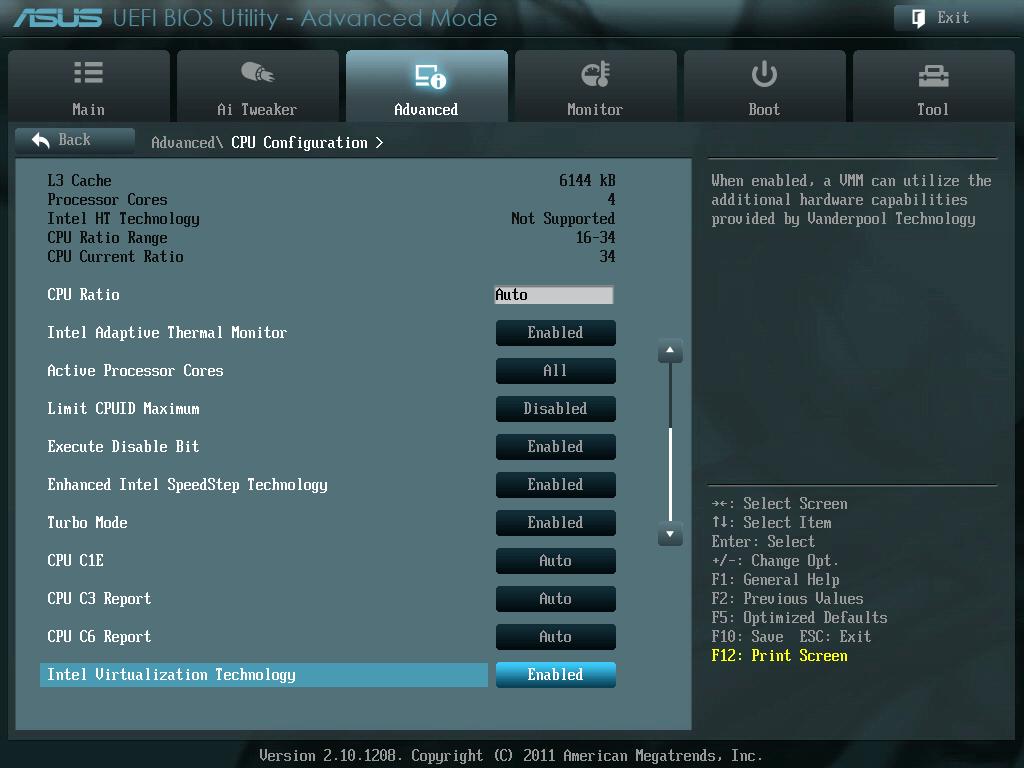 ASUS P8Z68-V PRO/GEN3 UEFI BIOS Version 3603 Intel Virtualization Technology を Disabled(無効) から Enabled(有効) に変更