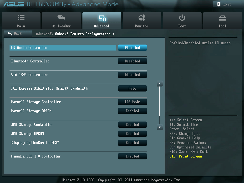 ASUS P8Z68-V PRO/GEN3 UEFI BIOS Version 3603 HD Audio Controller を Enabled(有効) から Disabled(無効) に変更