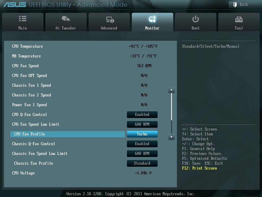 ASUS P8Z68-V PRO/GEN3 UEFI BIOS Version 3603 CPU Fan Profile を Standard から Turbo に変更