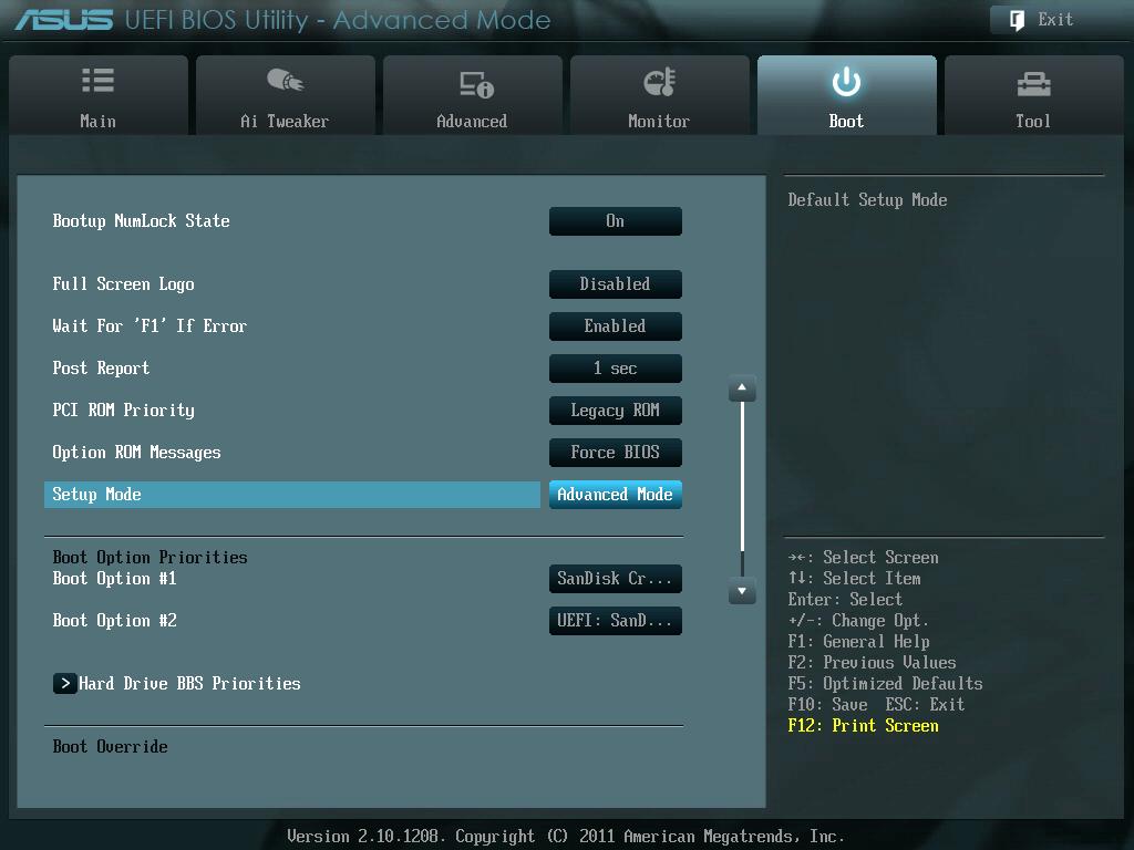 ASUS P8Z68-V PRO/GEN3 UEFI BIOS Version 3603 Setup Mode を EZ Mode から Advanced Mode に変更