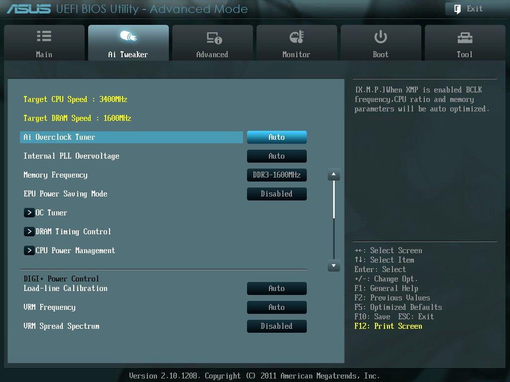 ASUS P8Z68-V PRO/GEN3 UEFI BIOS Version 3802 Target CPU Speed 3800MHz から 3400MHz(定格) に変更