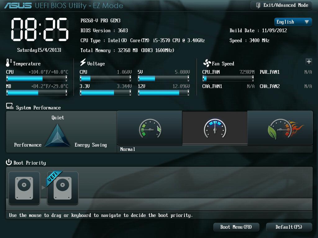 UEFI BIOS 英語・日本語メニュー一覧、ASUS P8Z68-V PRO/GEN3 編