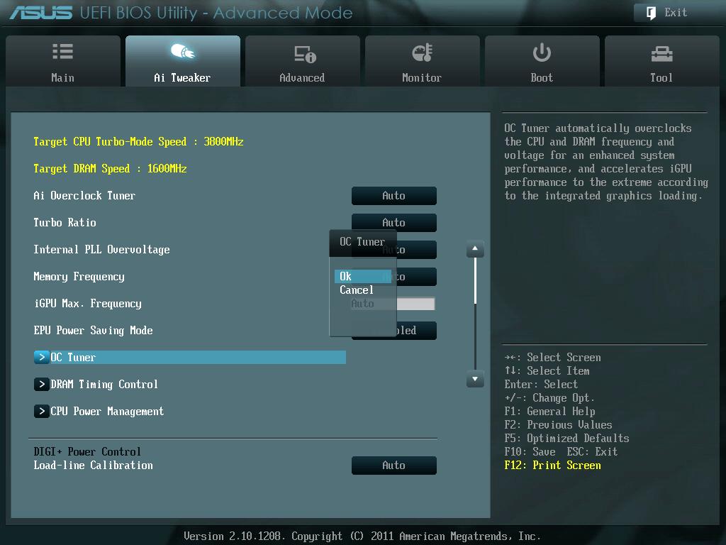 ASUS P8Z68-V PRO/GEN3 UEFI BIOS Utility English Ai Tweaker - OC Tuner
