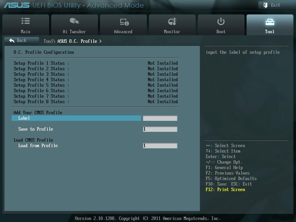 ASUS P8Z68-V PRO/GEN3 UEFI BIOS Utility English Tool - ASUS O.C. Profile