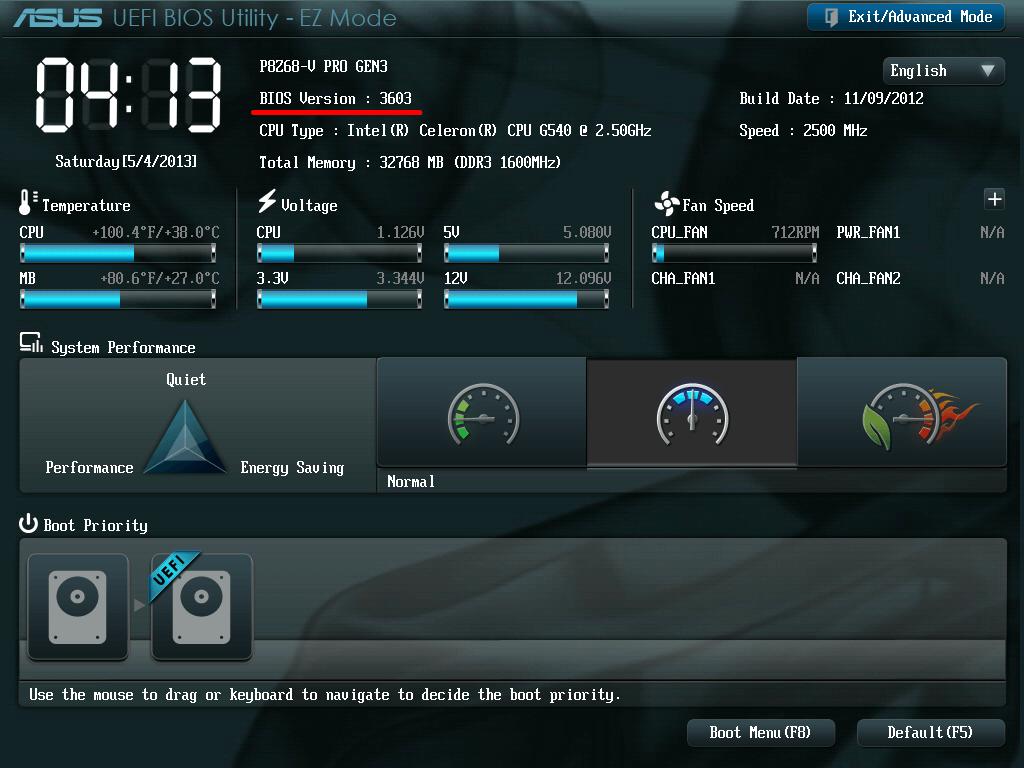 ASUS P8Z68-V PRO/GEN3 BIOS Version 3603