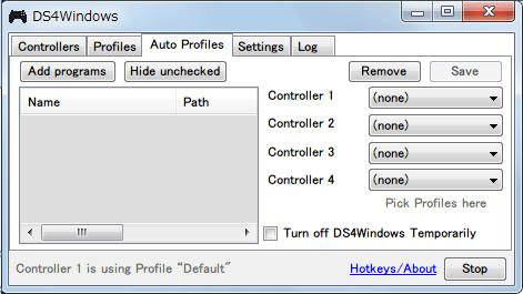 DS4Windows バージョン 1.4.52 Auto Profiles タブ 指定したプログラム別にプロファイルをあらかじめ設定することができる