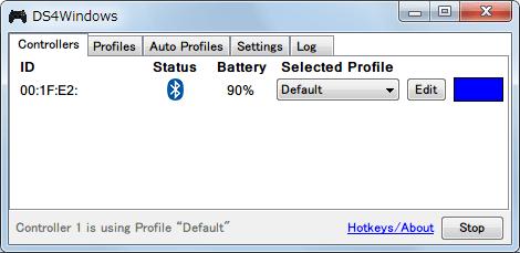 DS4Windows バージョン 1.4.52 新型デュアルショック 4 コントローラーを Bluetooth(無線)接続して DS4Windows で認識させた状態