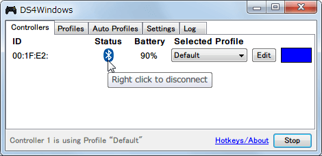 DS4Windows バージョン 1.4.52 Bluetooth(無線)接続した新型デュアルショック 4 コントローラーを DS4Windows 上で切断する方法、Status の Bluetooth マークを右クリックで無線接続を切断