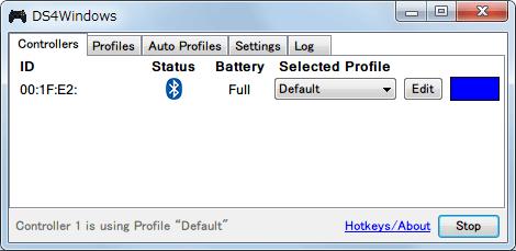 DS4Windows バージョン 1.4.52 新型デュアルショック 4 コントローラーを Bluetooth(無線)接続後に、USB ケーブルで接続した時の DS4Windows で認識させた状態、Bluetooth(無線)接続を維持したまま充電している状態で Status の Bluetooth マークを右クリックしても無線接続を切断することはできない