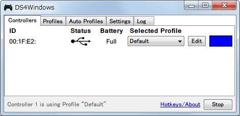 DS4Windows バージョン 1.4.52 新型デュアルショック 4 コントローラーを USB ケーブルで接続して DS4Windows で認識させた状態