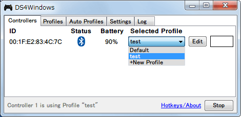 DS4Windows バージョン 1.4.52 Controllers タブでプロファイル変更と新規作成