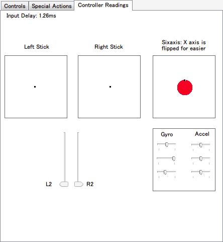 DS4Windows バージョン 1.4.52 Contoller Readings タブ 左右アナログスティック、L2・R2 トリガー、3軸ジャイロ・3軸加速度センサーと Input Delay(ms) の動作確認が可能、それ以外のボタン(十字キー、○×△□ボタン、L1・R1・L3・R3 ボタン、SHARE・OPTIONS ボタン、PS ボタン、タッチパッド)入力動作確認機能はない模様