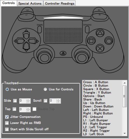 DS4Windows バージョン 1.4.52 Touchpad の Use as Mouse にある Slide のチェックマークをオフにするとタッチパッド操作によるマウスカーソルが移動しなくなる