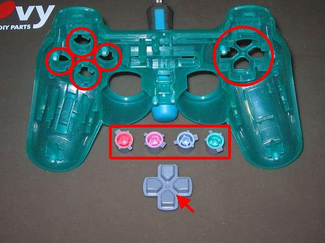 PS コントローラー(デュアルショック エメラルド) スプレーを使ってメンテナンス、○×△□ボタンの側面とボタン穴のすれ合う部分と十字キーと十字キー穴のすれ合う部分にドライファストルブを噴射