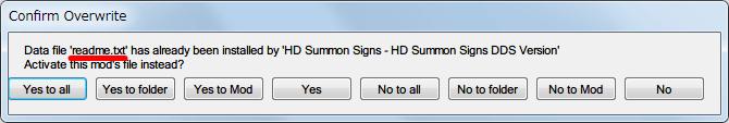 Nexus Mod Manager(NMM) で Mod インストール時に同名ファイルがある場合に Confirm Overwite 画面が表示される、readme.txt なら問題ないので Yes ボタンをクリック。Mod によって入れたい同名ファイルが決まっている場合は、Mod を入れる順番と上書き処理を考慮する必要があり、確認画面で適宜上書きするかしないか選択する必要がある。間違って上書きしまっても簡単にやり直すことが可能