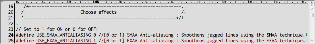Dark Souls SweetFX HDR 霧バグ対処方法、SweetFX_settings.txt 24 行目の SMAA アンチエイリアスを 0 (無効)、25 行目 FXAA アンチエイリアスを 1 (有効) にすることで解決