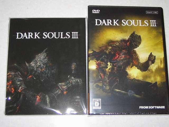 PC 版 DARK SOULS III 特典付き(特製マップ & オリジナルサウンドトラック)  購入、特製マップ & オリジナルサウンドトラック(画像左側)とゲームディスクパッケージ(画像右側)