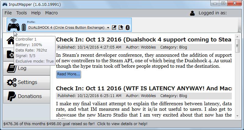 InputMapper 1.6.10 新型デュアルショック 4 コントローラー Bluetooth 接続時の Data Rate 782Hz 前後