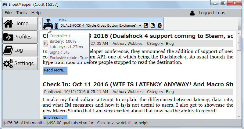 InputMapper 1.6.9 デュアルショック 4 コントローラー Bluetooth 接続時の Latency 1.27ms 前後