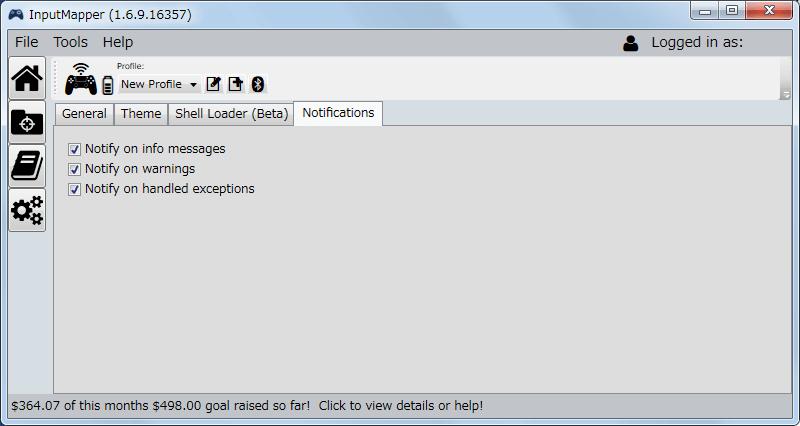 InputMapper 1.6.9 Settings 画面 Notifications タブ、タスクトレイにあるアイコンからの通知メッセージのオンオフ設定