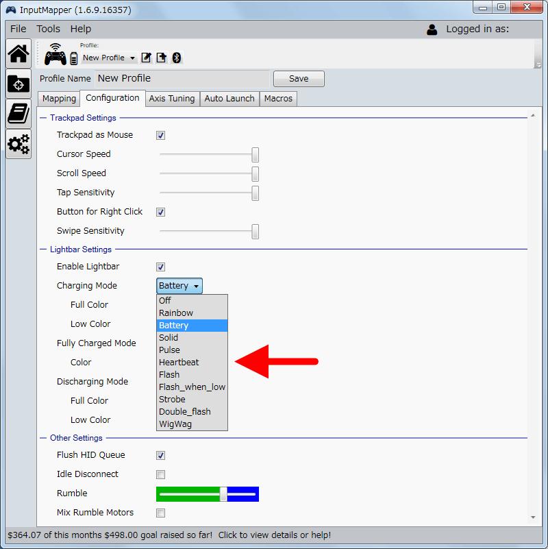 InputMapper 1.6.9 Profiles 画面で選択したプロファイルの編集画面内容 Configuration タブ、充電時(Charging Mode)・フル充電時(Fully Charged Mode)・バッテリー駆動(Discharging Mode)時のライトバーの点灯・点滅方法の設定、Off・・・ライトバー消灯、Rainbow・・・ライトバーが様々な色に変化、Battery・・・バッテリーと充電状況に応じて設定してある二色のカラーに徐々に変化していく、Solid・・・常時点灯、Pulse・・・ゆっくりと点滅を繰り返す、Heartbeat・・・一定間隔に2回点滅を繰り返す、Flash・・・一定間隔に点滅を繰り返す、Flash_when_low・・・バッテリーが少ない時に一定間隔に点滅を繰り返す、Strobe・・・素早く点滅を繰り返す、Double_flash・・・Heartbeat より速く一定間隔に素早く2回点滅を繰り返す、WigWag・・・二色のカラーが素早く交互に点滅を繰り返す