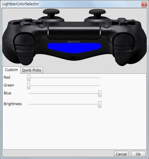 InputMapper 1.6.9 Profiles 画面で選択したプロファイルの編集画面内容 Configuration タブ、ライトバーの Color をクリックしたときに開く LightbarColorSelector の Custom タブ、RGB(赤、緑、青)の三原色と明るさの設定が可能